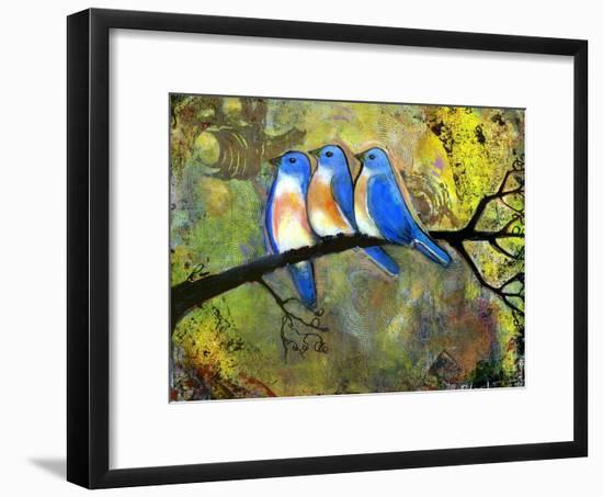 Three Little Bluebirds-Blenda Tyvoll-Framed Giclee Print