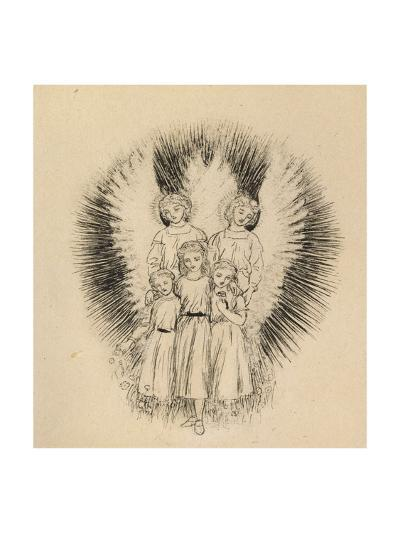 Three Little Children on the Wide Wide Earth (Pen and Black Ink on Off-White Paper)-Arthur Hughes-Giclee Print