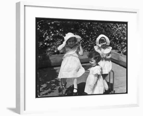 Three Little Girls in White Dresses with Matching Hats--Framed Giclee Print
