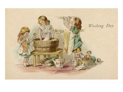 Three Little Girls Wash their Dolls Clothes and Hang Them Out to Dry--Giclee Print