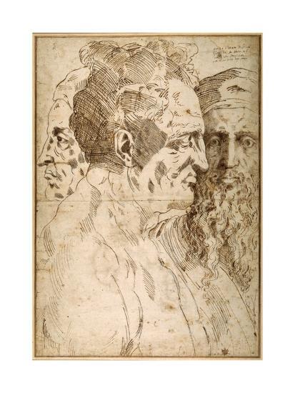 Three Male Heads Juxtaposed-Baccio Bandinelli-Giclee Print