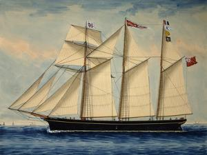 Three-Masted Barquentine Willie Glen, 1880, Watercolour by Anthony Luzzo, 19th Century