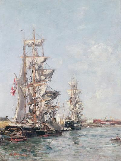 Three-Masted Boats at the Quay in Deauville Harbour, C.1888-89-Eug?ne Boudin-Giclee Print
