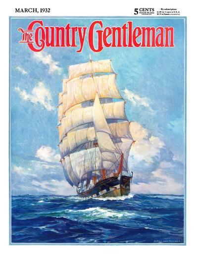 """Three Masted Schooner,"" Country Gentleman Cover, March 1, 1932-Anton Otto Fischer-Giclee Print"
