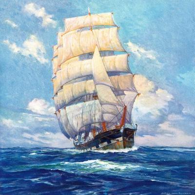 """""""Three Masted Schooner,""""March 1, 1932-Anton Otto Fischer-Giclee Print"""