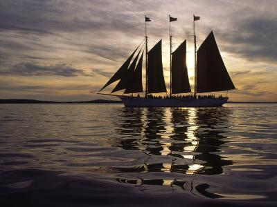 Three Masted Schooner under Sail at Sunset-Michael Melford-Photographic Print
