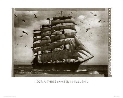 Three Master in Full Sail 1905--Art Print