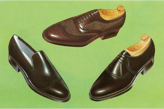 Three Men's Shoes-Found Image Press-Photographic Print