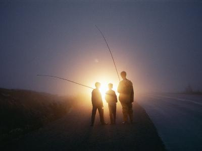 Three Men Walking Toward Their Car after a Day Spent Trout Fishing-Sam Abell-Photographic Print