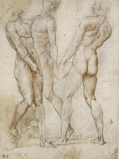 Three Nude Bearers (Pen and Brown Ink over Grey Chalk Outlines with Red Chalk on White Paper)-Raphael-Giclee Print