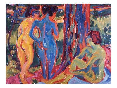 Three Nudes-Ernst Ludwig Kirchner-Giclee Print