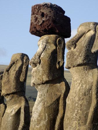Three of the Fifteen Huge Moai Statues, Ahu Tongariki