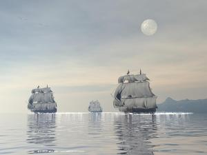 Three Old Ships Sailing in the Ocean under a Full Moon