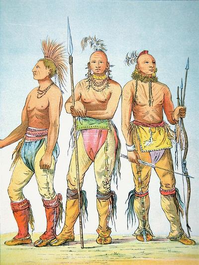 Three Osage Braves, 1841-George Catlin-Giclee Print