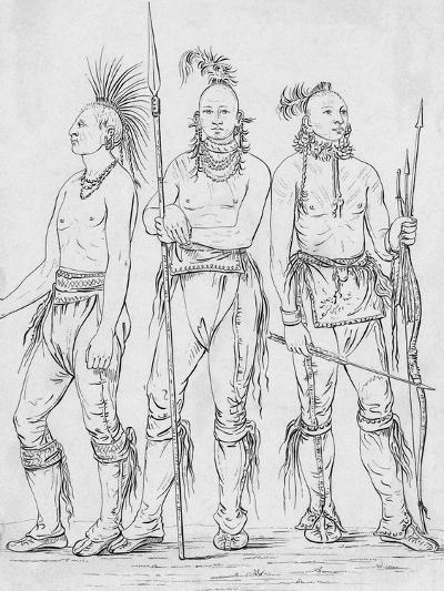 Three Osage Warriors-George Catlin-Giclee Print