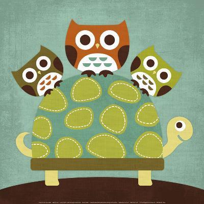 Three Owls on Turtle-Nancy Lee-Art Print