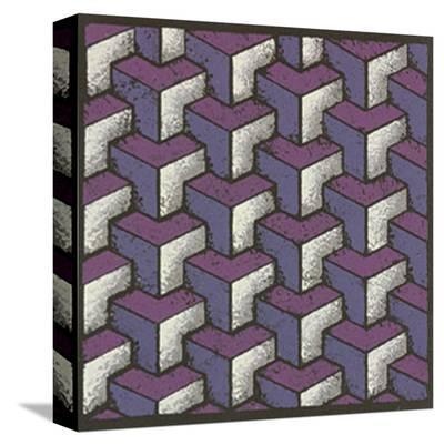 Three Part Tumbling Blocks - Plum-Susan Clickner-Stretched Canvas Print