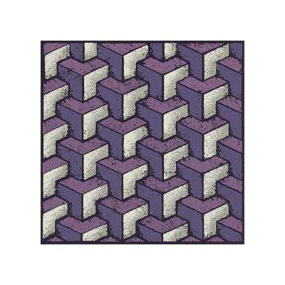 Three Part Tumbling Blocks (Purple)-Susan Clickner-Giclee Print