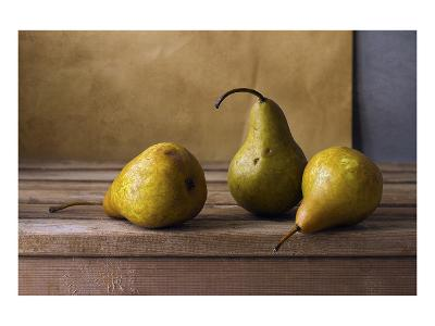 Three Pears on Wooden Table--Art Print