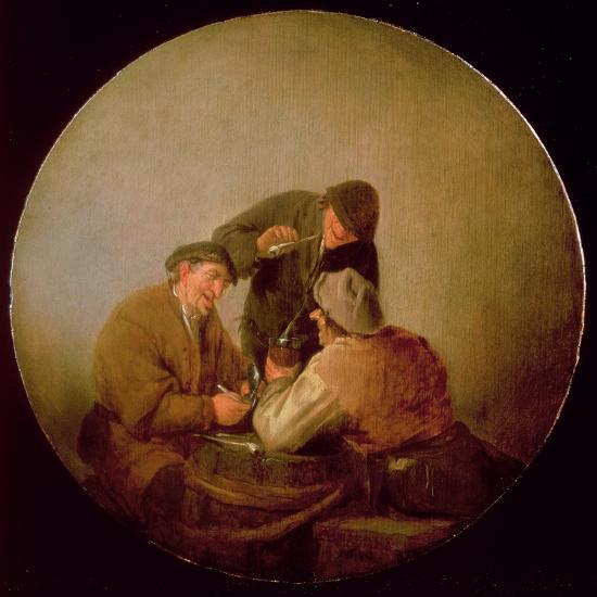 Three Peasants Drinking and Smoking in an Interior-Adriaen Jansz^ Van Ostade-Giclee Print