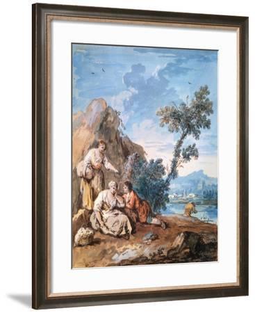 Three Peasants Resting on a River Bank, C1750-Giuseppe Zais-Framed Giclee Print