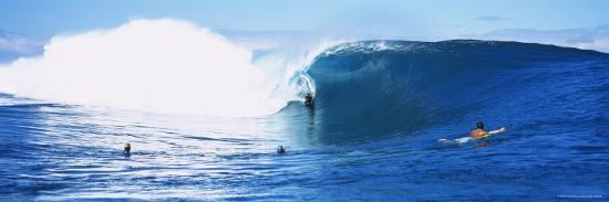 Three People Bodyboarding in the Ocean, Tahiti, French Polynesia--Photographic Print