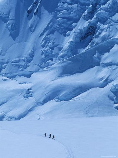 Three People Skiing Up the Kahiltna Glacier on Denali, Alaska-Bill Hatcher-Photographic Print