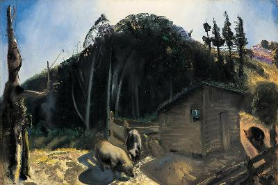 Three Pigs and a Mountain, C.1922-George Wesley Bellows-Giclee Print