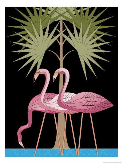 Three Pink Flamingos--Art Print