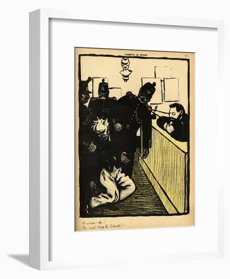 Three Policemen Bring a Man Beaten Black and Blue into the Police Station-F?lix Vallotton-Framed Giclee Print