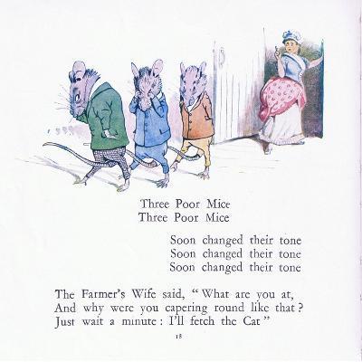 Three Poor Mice, Three Poor Mice, Soon Changed their Tune-Walton Corbould-Giclee Print