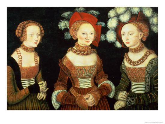 Three Princesses of Saxony, Sibylla (1515-92), Emilia (1516-91) and Sidonia (1518-75)-Lucas Cranach the Elder-Giclee Print