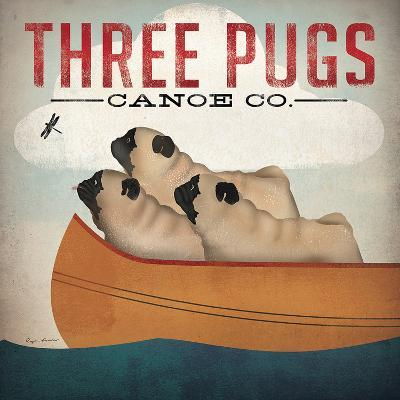 Three Pugs-Wild Apple Portfolio-Art Print