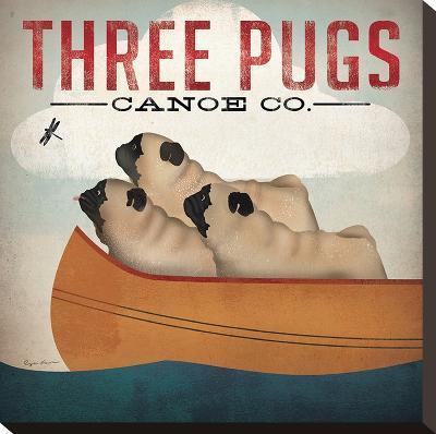 Three Pugs-Wild Apple Portfolio-Stretched Canvas Print