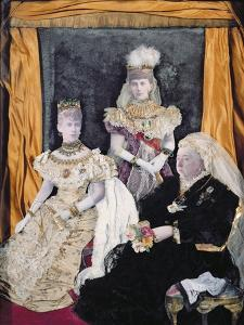 Three Queens - Collage Portraits of Queen Victoria, Alexandra and Mary