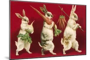 Three Rabbits Carrying Vegetables