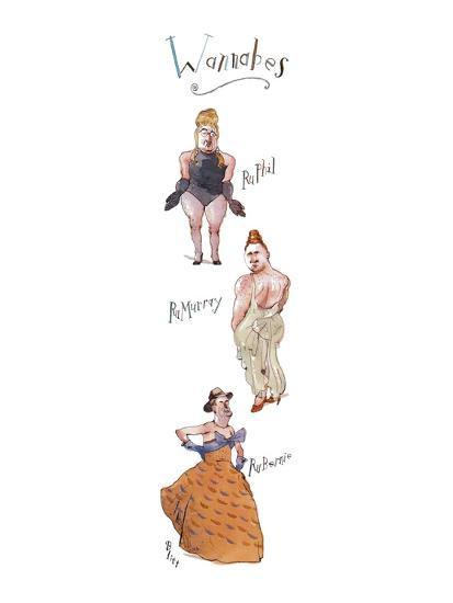 """Three rather burly men in drag, labeled, respectively, """"RuPhil"""", """"RuMurray? - New Yorker Cartoon-Barry Blitt-Premium Giclee Print"""