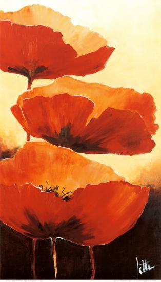 Three Red Poppies I-Jettie Rosenboom-Art Print