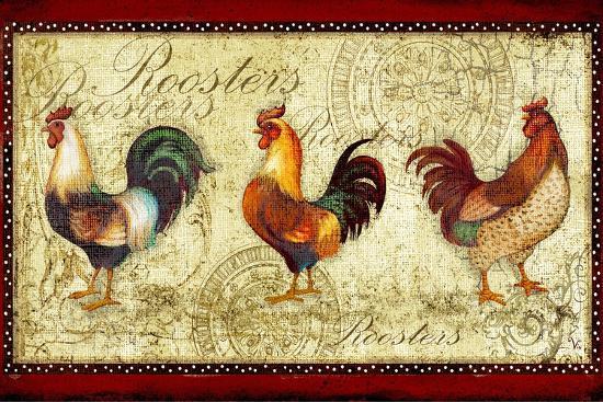 Three Roosters-Viv Eisner-Art Print