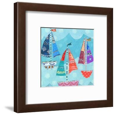 Three Sailing Boats On Blue-Liz and Kate Pope-Framed Art Print