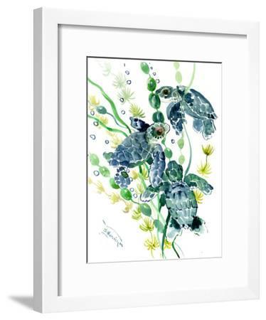 Three Sea Turtles-Suren Nersisyan-Framed Art Print