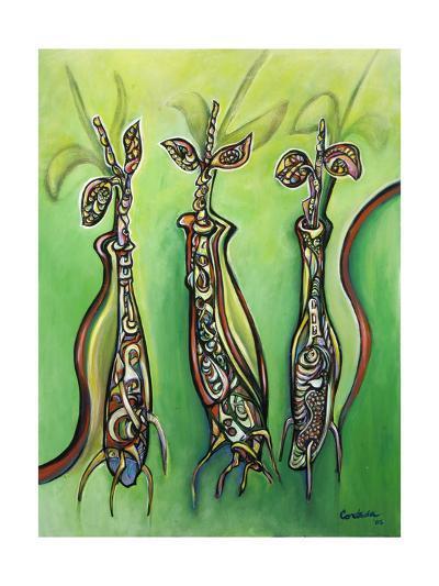 Three Seedlings (On Green) 2005-Xavier Cortada-Giclee Print