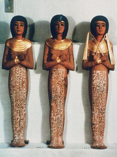 Three Shabtis or Servant Figures, Tutankhamun Funerary Object, 18th Dynasty--Giclee Print