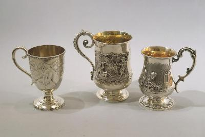 Three Silver Decorated Mugs with Parcel Gilt Interior--Giclee Print