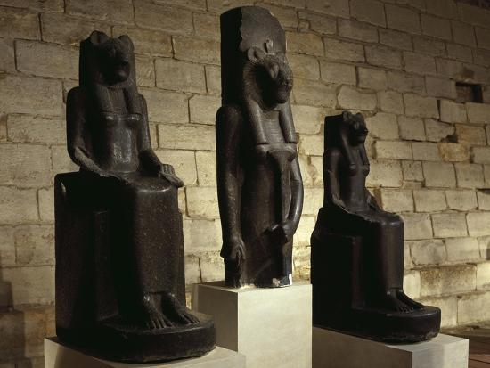 Three Statues of the Goddess Sekhmet in Guise of Lion, from Thebes--Giclee Print