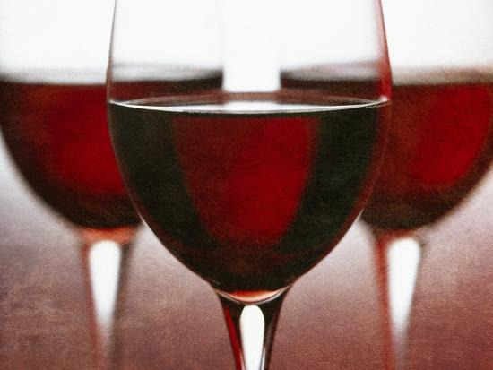 Three Stemmed Glasses of Red Wine-Steve Lupton-Photographic Print