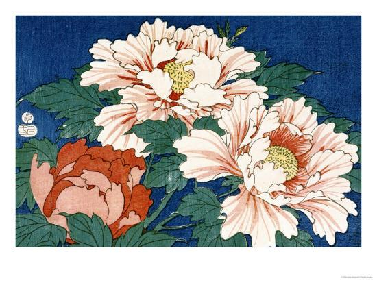 Three Stems of Peonies on a Blue Background, 1857-Ando Hiroshige-Giclee Print