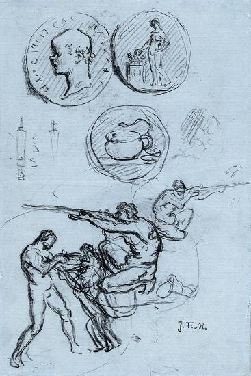 Three Studies for Antique Coins, Hunters, and a Man with a Lion-Jean-Francois Millet-Giclee Print