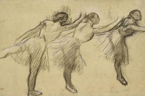 Three Studies of a Ballerina (Charcoal Rubbed and Touched with Pink and Brown Pastels on Thin-Edgar Degas-Giclee Print