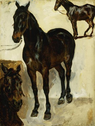 Three Studies of Horses; Trois Etudes De Chevaux, C.1823-Eugene Delacroix-Giclee Print
